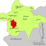 Localización de Cinctorres respecto a la comarca de Los Puertos