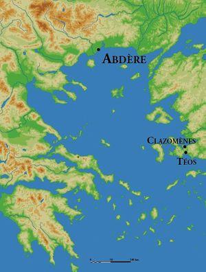 Localización de Abdera y de sus dos metrópolis