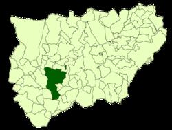 El municipio de Jaén sobre el mapa provincial