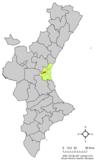 Localización de Aldaya respecto a la Comunidad Valenciana