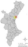 Localización de Benavites respecto al País Valenciano