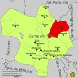 Localización de Serra respecto a la comarca del Campo de Turia