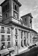 La colegiata en un grabado de 1886. Las torres aún no estaban concluidas.
