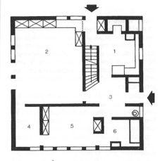 1.Cocina, 2.Salón, 3.Vestíbulo, 4.Dormitorio, 5.Dormitorio, 6.Baño