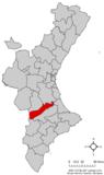Localización de Novelé respecto a la Comunidad Valenciana