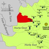 Localización de Localización de la localidad valenciana respecto a Huerta Oeste.