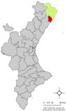 Localización de Alcalá de Chivert respecto a la Comunidad Valenciana