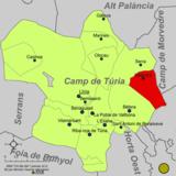 Localización de Náquera respecto a la comarca del Campo de Turia